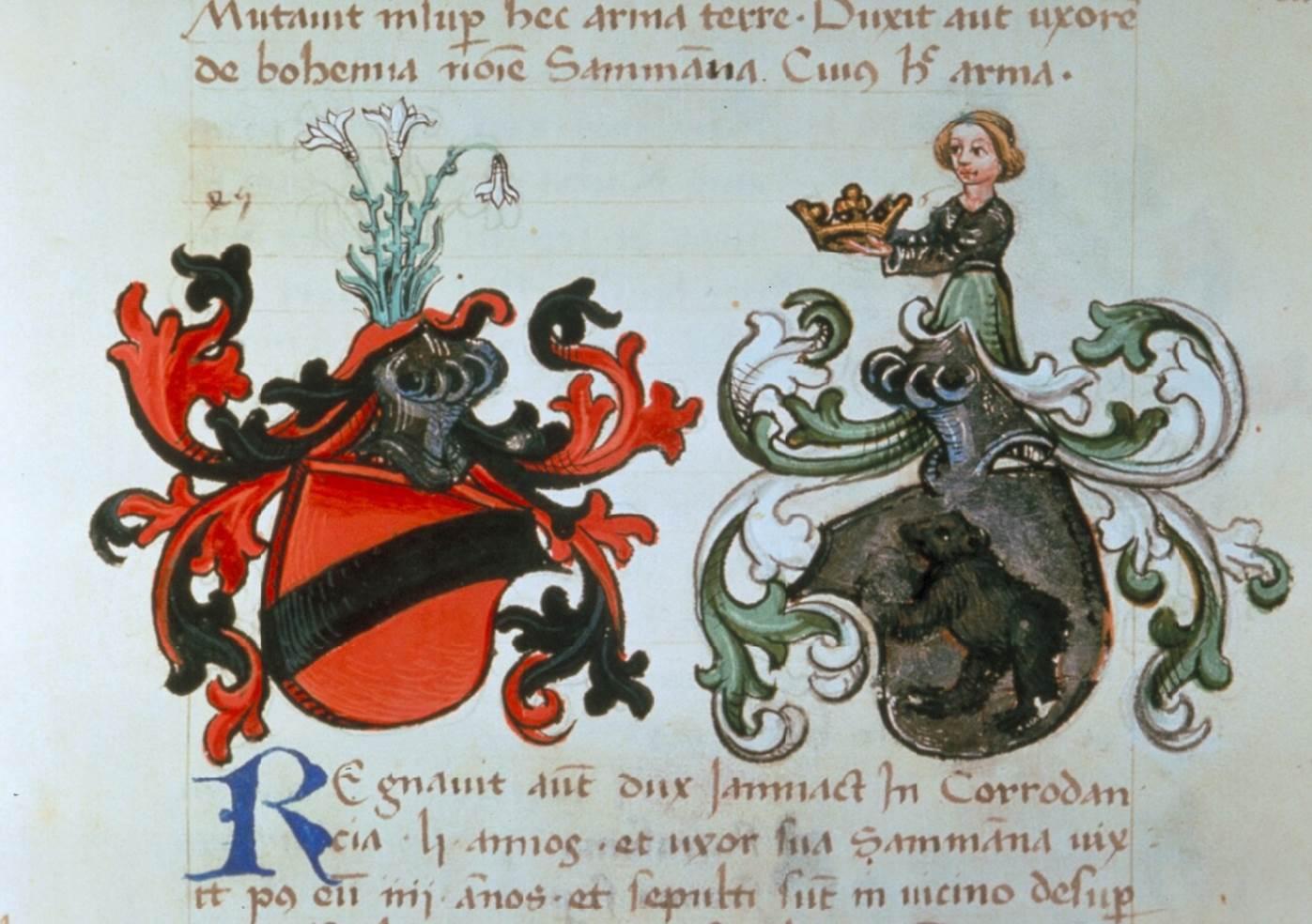 Heinrich von Gundelfingen. Österreichische Fürstenchronik, cod. 516, fol. 17v, ÖNB, Wien, 2. H. 15. Jh.