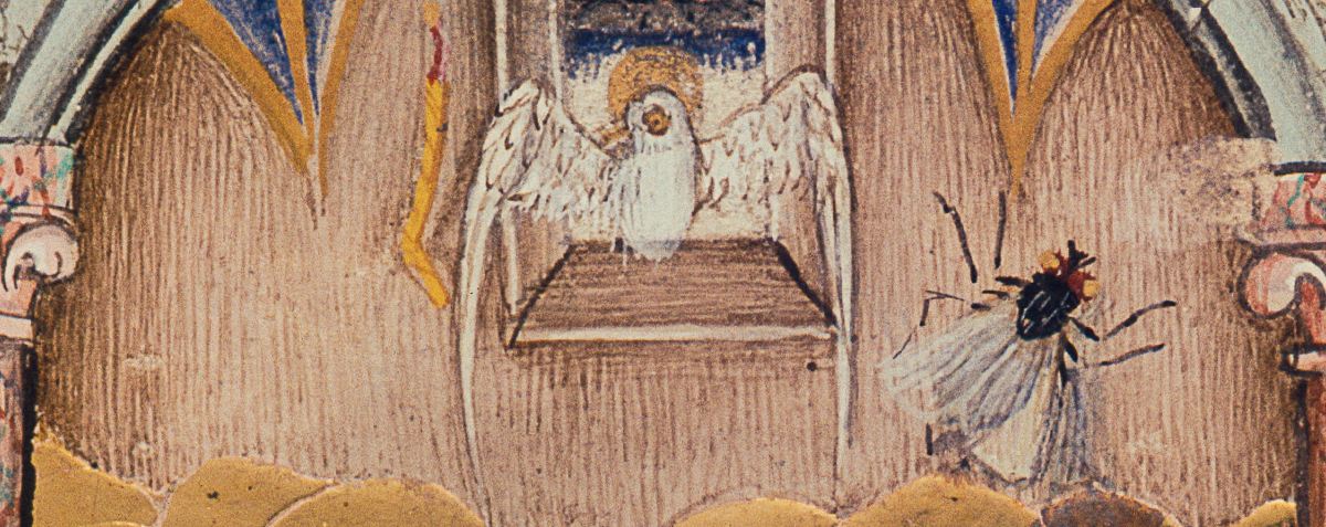 Detail aus der Ausgießung des Heiligen Geistes, Lehrbücher-Meister, Stundenbuch, Wien, ÖNB, cod. s. n. 2599, fol. 95r