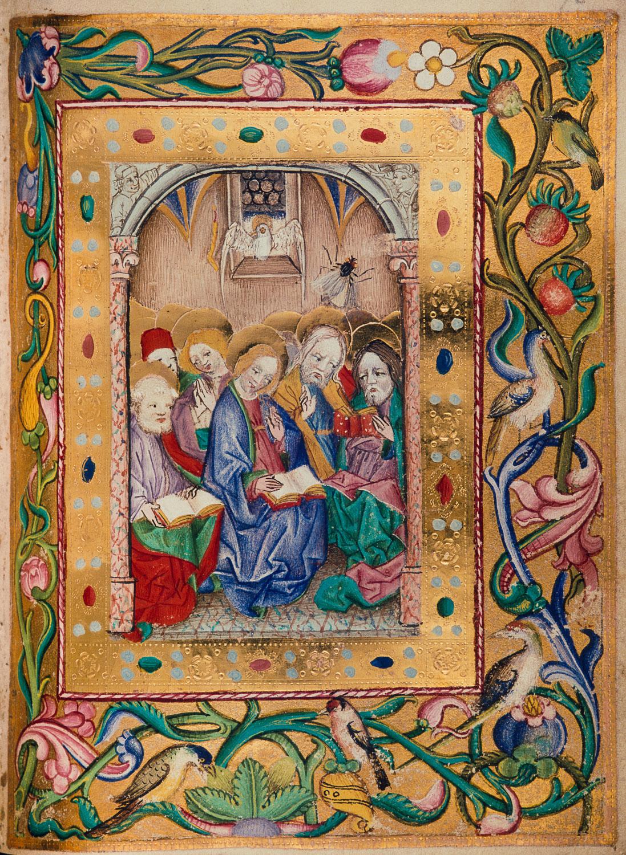 Ausgießung des Heiligen Geistes, Lehrbücher-Meister, Stundenbuch, Wien, ÖNB, cod. s. n. 2599, fol. 95r