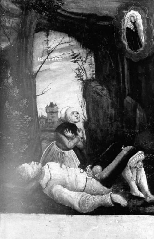 Erweckung eines von einem Pfeil getroffenen Mannes von Meister der Brucker Martinstafel