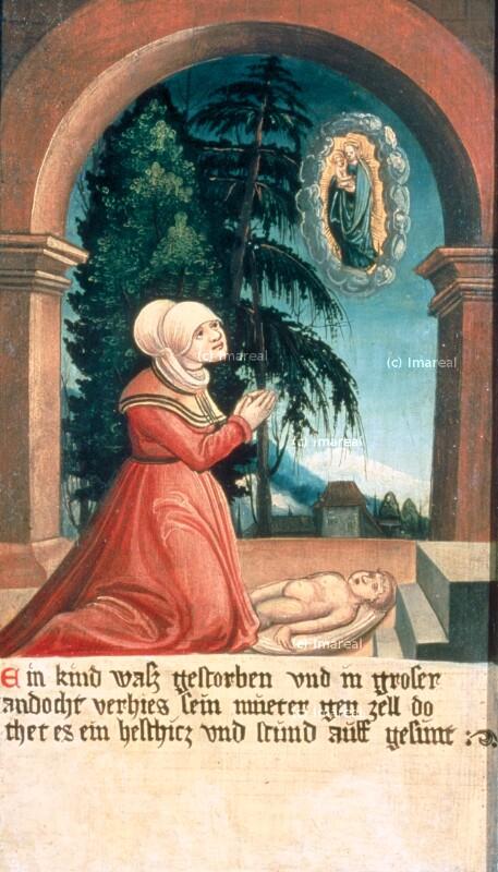 Erweckung eines toten Kindes von Meister der Brucker Martinstafel