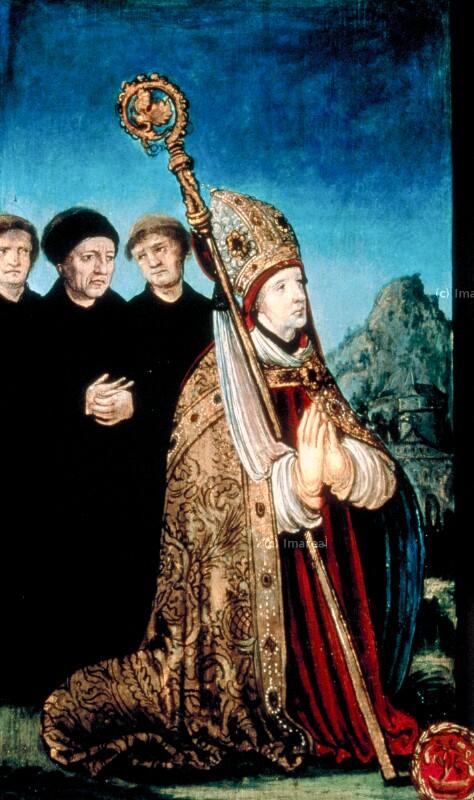Bischof betend von Meister der Brucker Martinstafel