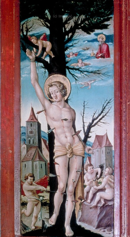 Befreiung des Hl. Sebastian vom Marterbaum durch Engel von Meister der Brucker Martinstafel