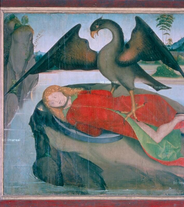 Adler bewacht auf einer Insel die Leiche des Hl. Florian von Meister des Krainburger Altars