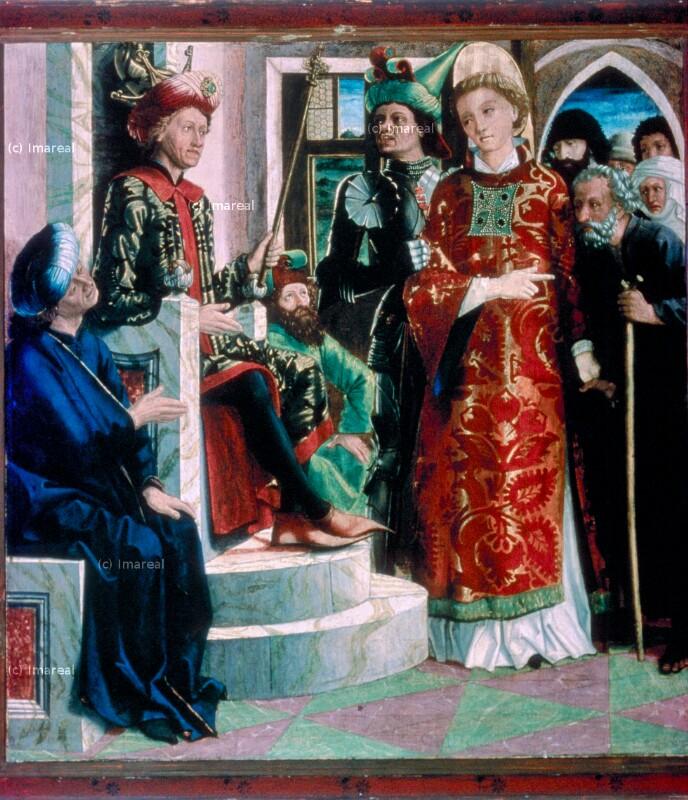 Hl. Laurentius mit dem Schatz der Kirche vor Decius von Pacher Michael