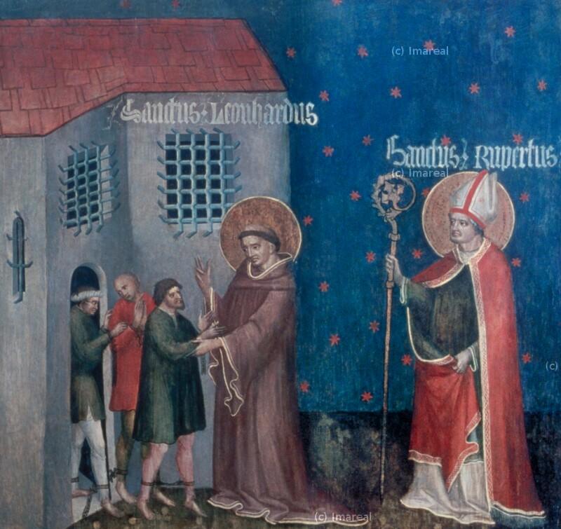 Gefangenenbefreiung durch den Hl. Leonhard von Meister des Pfarrwerfener Altars