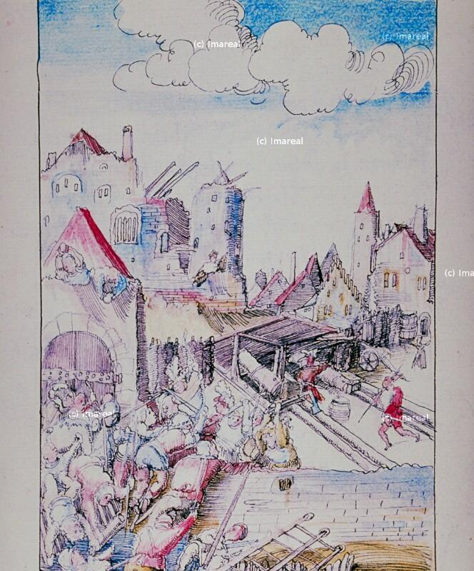 Belagerung der Stadt Wien von Meister der Historia Friderici et Maximiliani