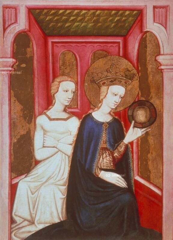 Hl. Katharina betrachtet sich im Spiegel von Meister von Bat