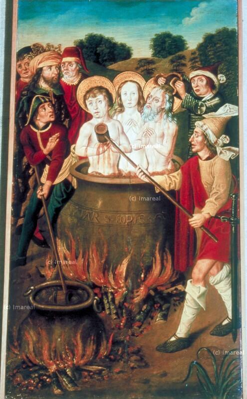 Ölmartyrium des Hl. Felix, der Hl. Regula und des Hl. Exuperantius von Meister der Apostelmartyrien