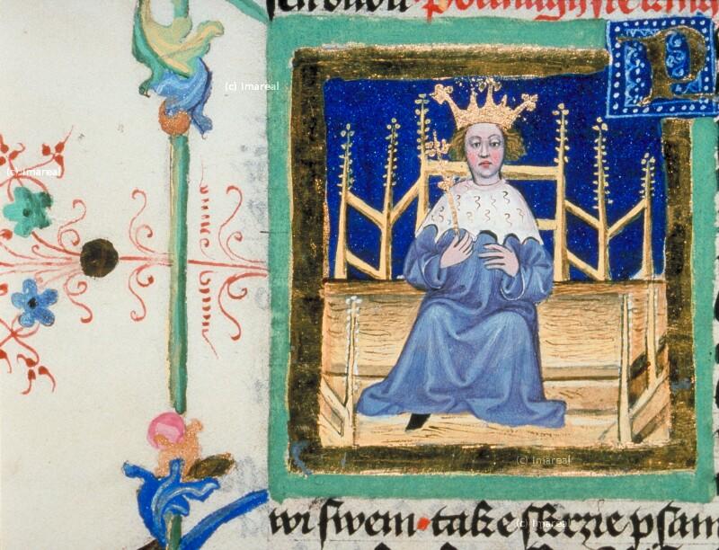 König thronend