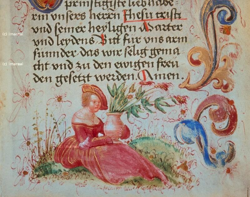 Frau mit Blumenvase
