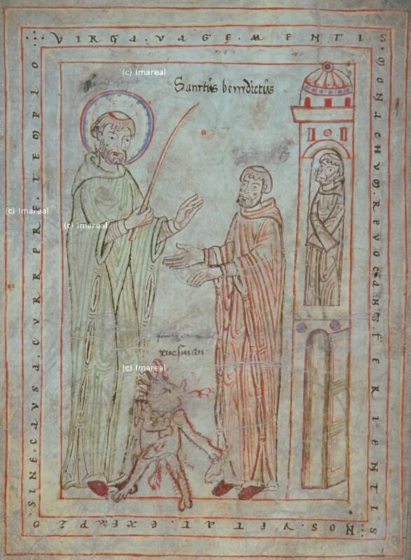 Hl. Benedikt vertreibt den Teufel mit einer Rute