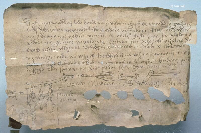 Drohbrief eines Räubers an den Rat von Bardejov