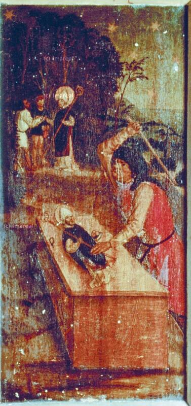 Jude übergibt seine Schätze der Statue des Hl. Nikolaus von Meister A R