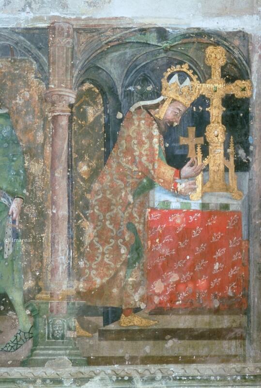 Karl IV. gibt den Kreuzpartikel in das Reliquienkreuz von Wurmser Nikolaus