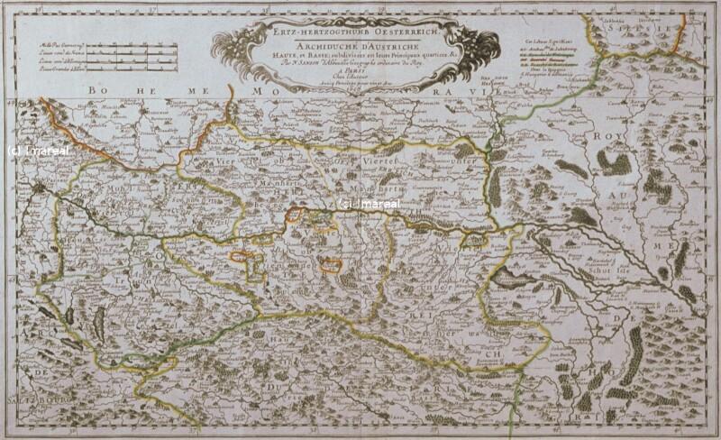 Landkarte Österreich von Abbéville Nicolas Sanson de