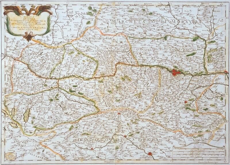 Landkarte Österreich von Vignola Giacomo Cantelli da