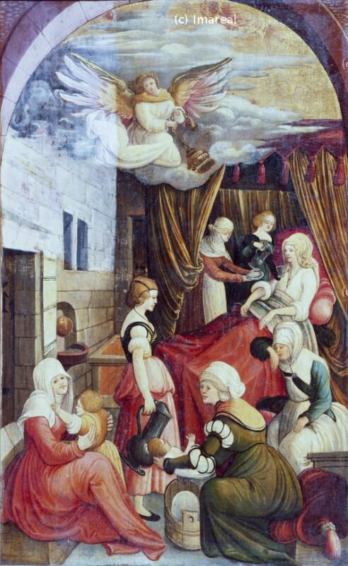 Geburt Mariens von Meister der Kremsmünsterer Katharinenlegende