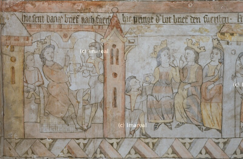 Der Bote bringt den Brief den drei Fürsten von