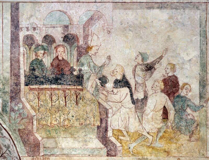 Hl. Remigius überreicht dem Hl. Leonhard einen Krug mit Taufwasser