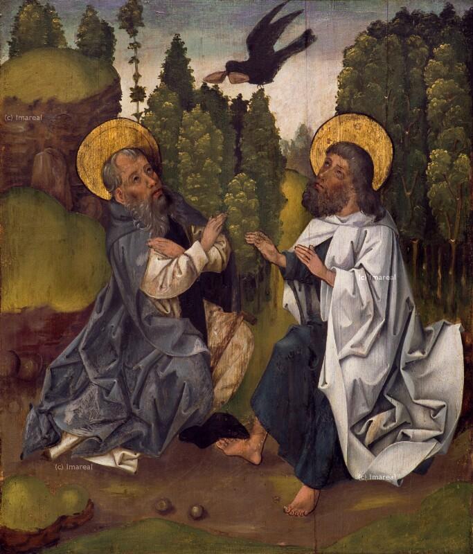 Hl. Antonius und der Hl. Paulus von Theben werden von einem Raben gespeist von Koler Joseph