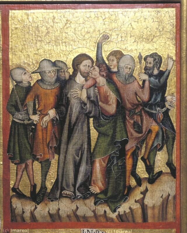 Judaskuss von Meister der Rückseite des Verduner Altars-Umkreis